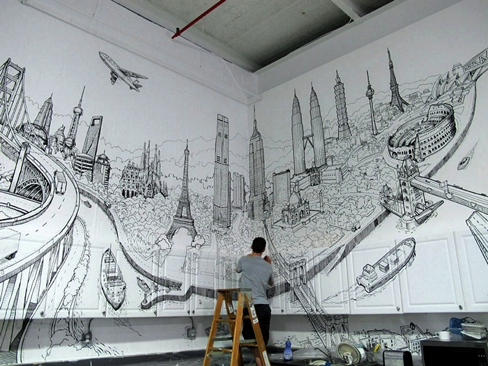 Интерьерное граффити Global City. *Комнатный* стрит-арт от художника  Deck Two