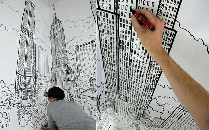 Интерьерное граффити Global City от художника  Deck Two