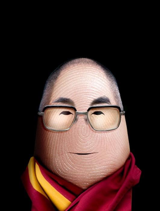 Далай-Лама Портреты на пальцах в арт-проекте Ditology