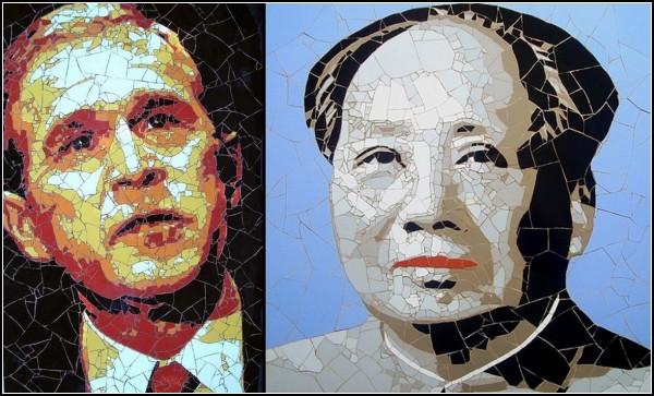 Портреты знаменитостей из кусочков мраморной плитки