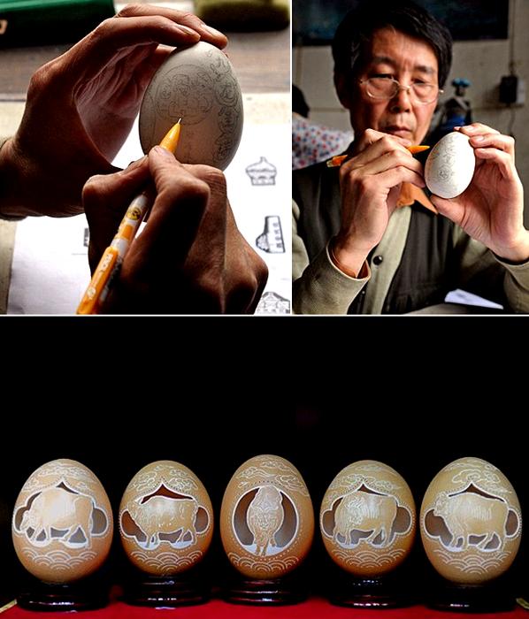 Резные шедевры из яичной скорлупы от Wen Fuliang