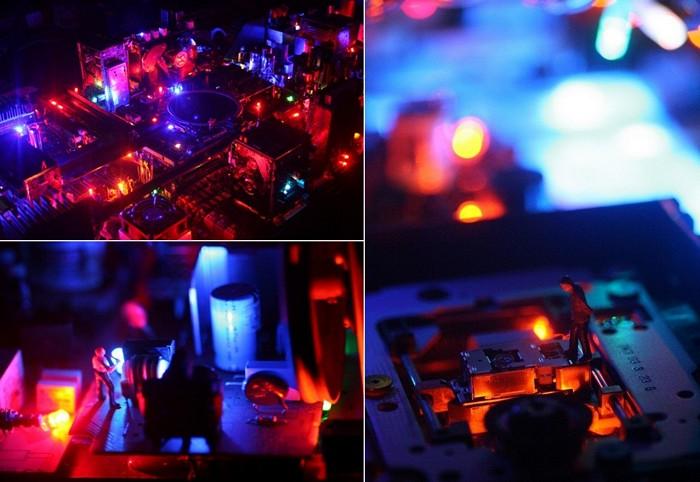 Инсталляция Electri-City в корпусе журнального столика. Настольный город от Бенджамина Йетса (Benjamin Yates)