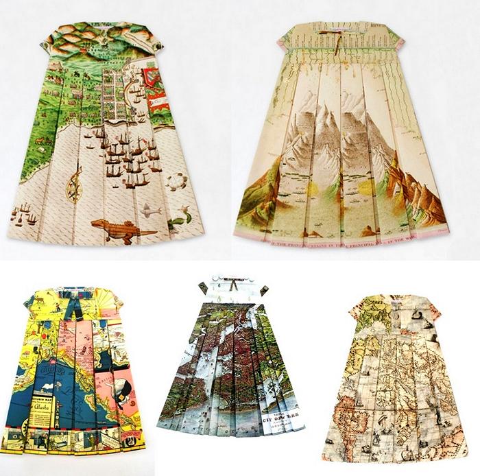 Географические платья. Креативная одежда из географических карт