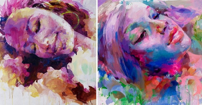 Floral funeral, серия красочных картин о похоронах куклы Барби
