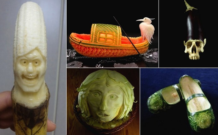 Food Carving. Обзор скульптур из овощей и фруктов