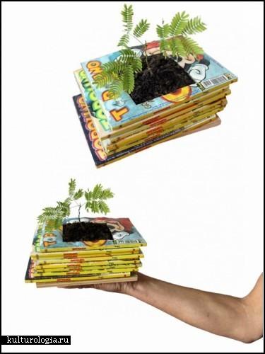 Цветочные горшки из старых книг. Идея от Gartenkultur