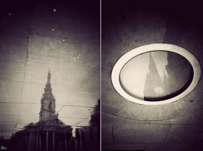 London in Puddles. Лондон в отражении луж и на мокром асфальте