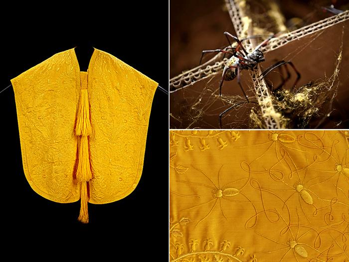 *Золотая* ткань из паутины мадагаскарских пауков
