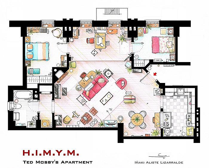 Планировка квартиры Теда Мосби. Сериал *Как я встретил вашу маму*