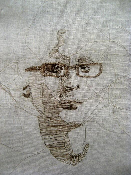 Портреты из волос человека, вышитые Заирой Пулидо (Zaira Pulido)