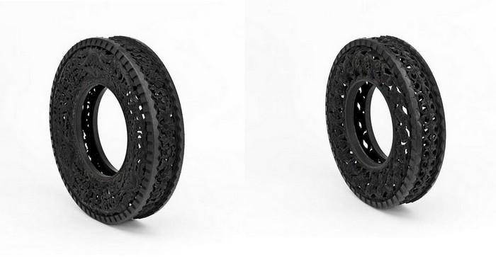Коллекция автомобильных покрышек с резными узорами от Studio Wim Delvoye