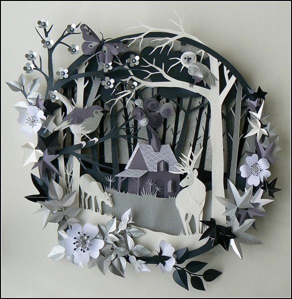 Сказочные картины-инсталляции из бумаги. Автор - Helen Musselwhite