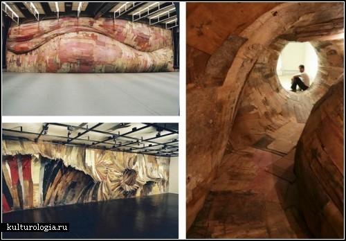Инсталляции из древесных срезов