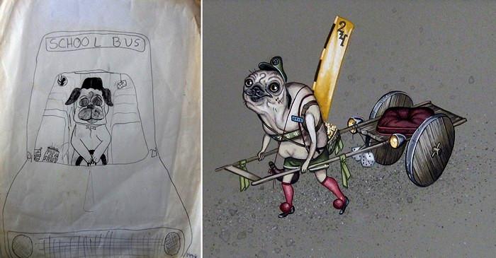 Экспозиция Homeroom: детские рисунки художников в новом исполнении. Работа Allison Sommers