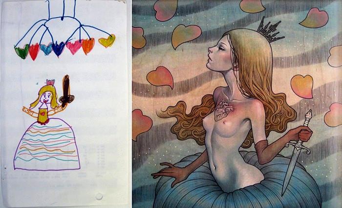Экспозиция Homeroom: детские рисунки художников в новом исполнении. Работа Audrey Kawasaki