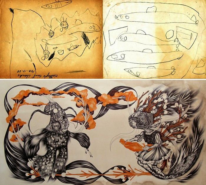 Экспозиция Homeroom: детские рисунки художников в новом исполнении. Работа Katherine Brannock