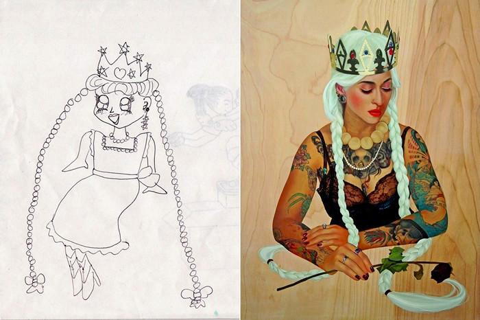 Экспозиция Homeroom: детские рисунки художников в новом исполнении. Работа Soey Milk