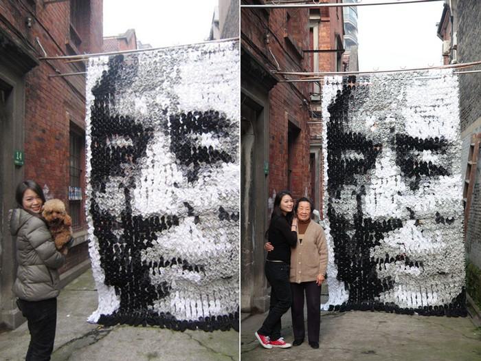 Портрет, нарисованный 750 парами носков