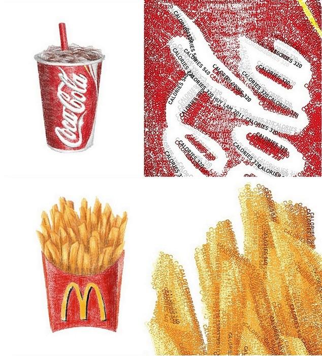 Еда из Макдоналдса, нарисованная содержащимися в ней калориями