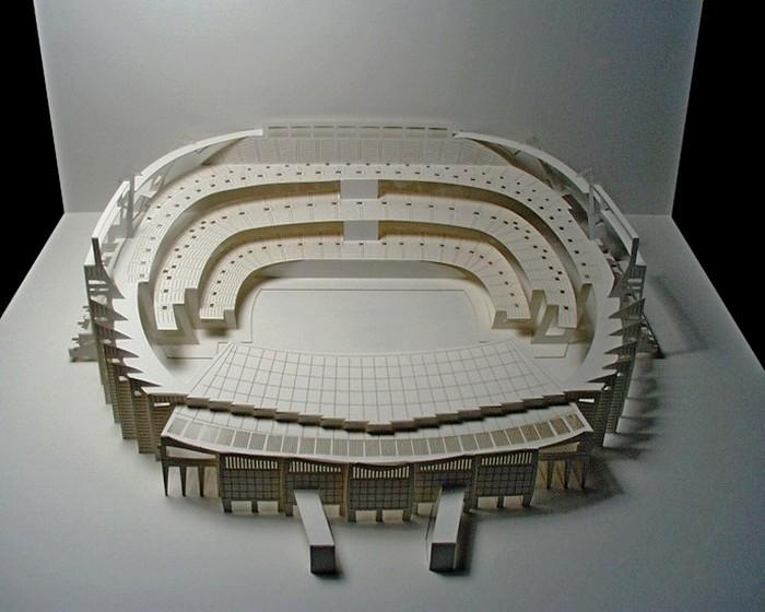 Стадион Camp Nou, миниатюрная копия из бумаги формата А3