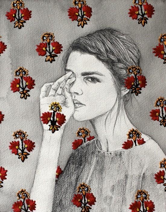 Рисунки с шитьем и вязанием. Mixed media от Izziyana Suhaimi
