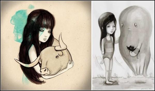 Дети и животные в рисунках Джейд Клары (Jade Klara)