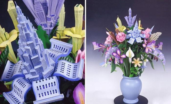 Домики в цветах, творческие букеты от James Grashow