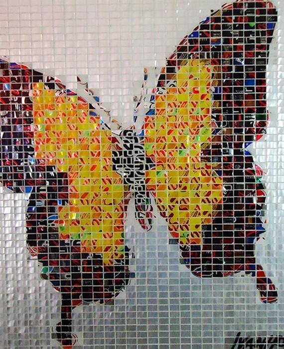 Арт-проект Джеффа Айвенго, мозаики из алюминиевых банок