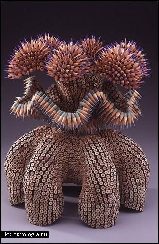 Скульптуры из карандашей. Автор - Дженнифер Маэстре (Jennifer Maestre)