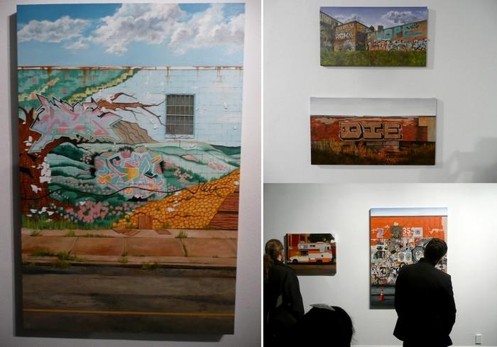 Нарисованные граффити на нарисованных стенах. Выставка картин Джессики Гесс (Jessica Hess)