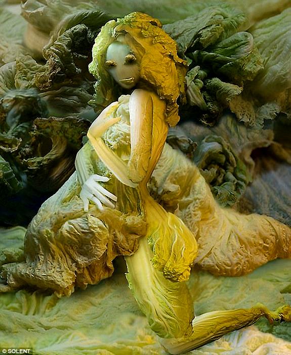 Картины-инсталляции из разных овощей от Ju Duoqi