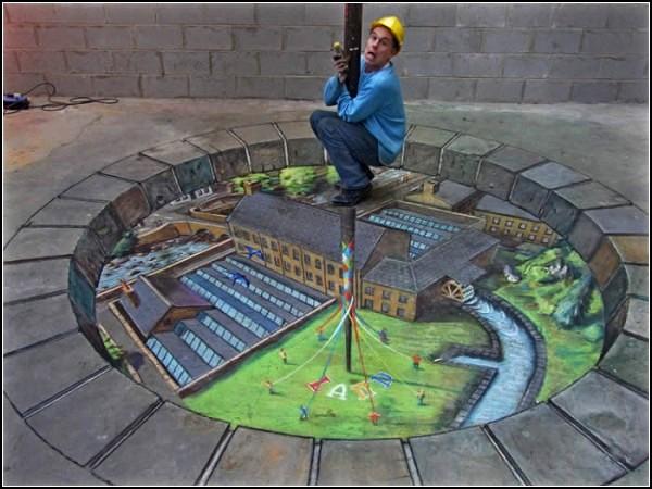 Оптические картины-иллюзии на улицах Британии
