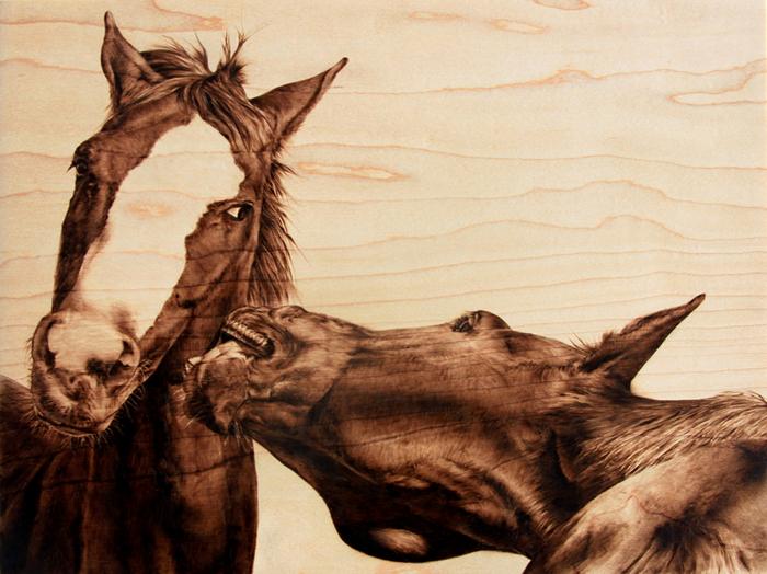 Пирография, или выжигание по дереву. Удивительные картины Джули Бендер