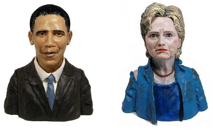 Барак Обама и Хиллари Клинтон, маленькие пластилиновые скульптуры
