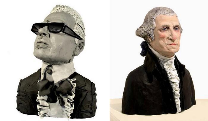 Восьмидюймовые легенды: пластилиновые Карл Лагерфельд и Джордж Вашингтон. Работа Карен Колдикотт (Karen Caldicott)