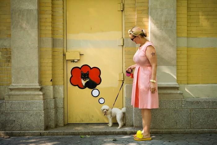 Красочный и забавный street art от Katie Sokoler