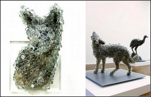 Пиксель-арт из стеклянных шариков. Скульптуры из серии PixCell от Kohei Nawa
