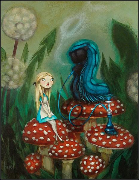 Сказочная Алиса и Гусеница из Страны Чудес