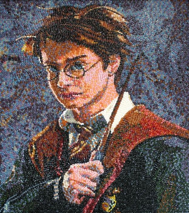 Гарри Поттер из мармеладных конфет. Jelly Belly® bean art