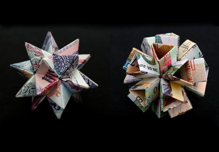 Скульптуры-мячики из дензнаков, творчество Kristi Malakoff
