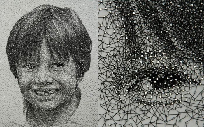 Арт-проект Constellation. Портреты из сотен гвоздей и одной нитки