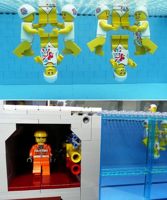 Копия олимпийской акватории London Aquatics Centre из кирпичиков Lego