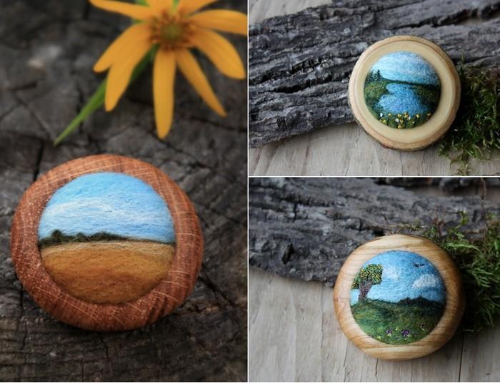 Деревянная брошь с пейзажем из войлока. Творчество Лизы Джордан (Lisa Jordan)