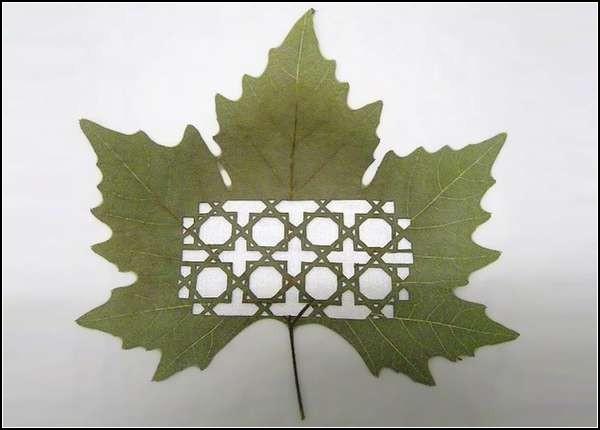 Подобие кельтского орнамента на кленовом листе