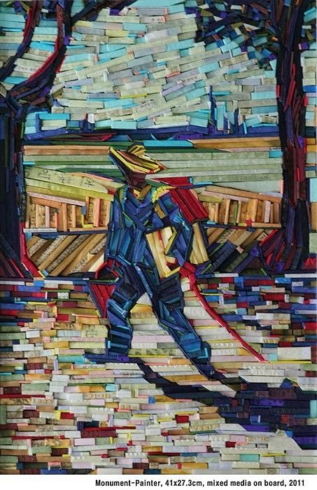 Знаменитые картины из деревянных колышков. Имитации Kyu-Hak Lee