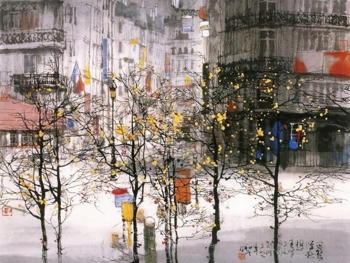 Города и природа в картинах Лю Маошана (Liu Maoshan)