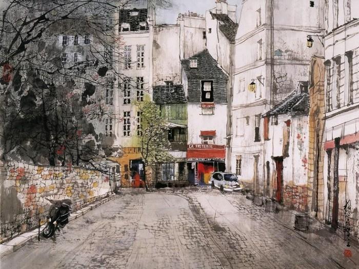 Тонкие и нежные акварельные пейзажи Лю Маошана (Liu Maoshan)