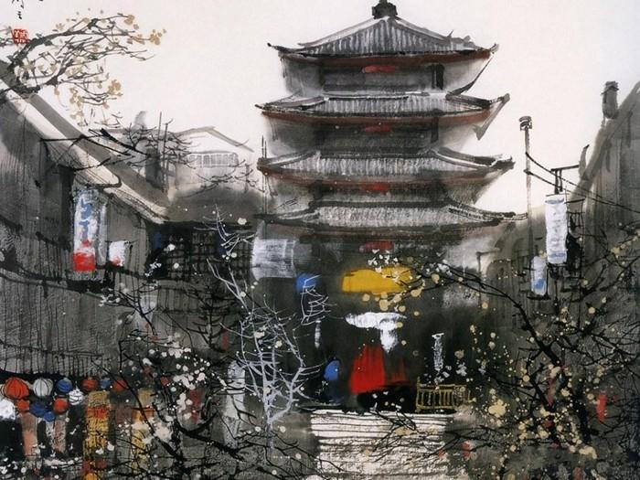 Нежная акварельная живопись Лю Маошана (Liu Maoshan)