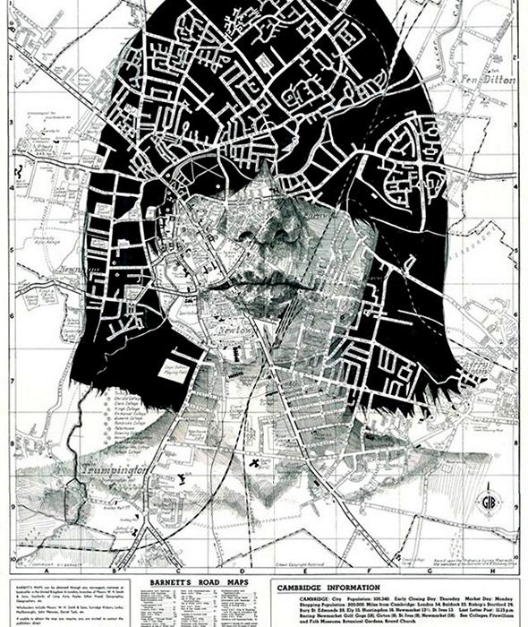 Maps series. Портреты на географических картах в арт-проекте Эда Файрберна (Ed Fairburn)