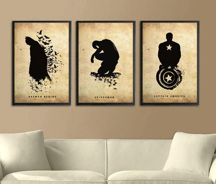 Poster Inspired, силуэтные иллюстрации супергероев